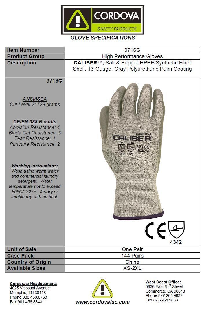 Cordova 3716g Caliber Salt Amp Pepper Ansi A2 Cut Resistant