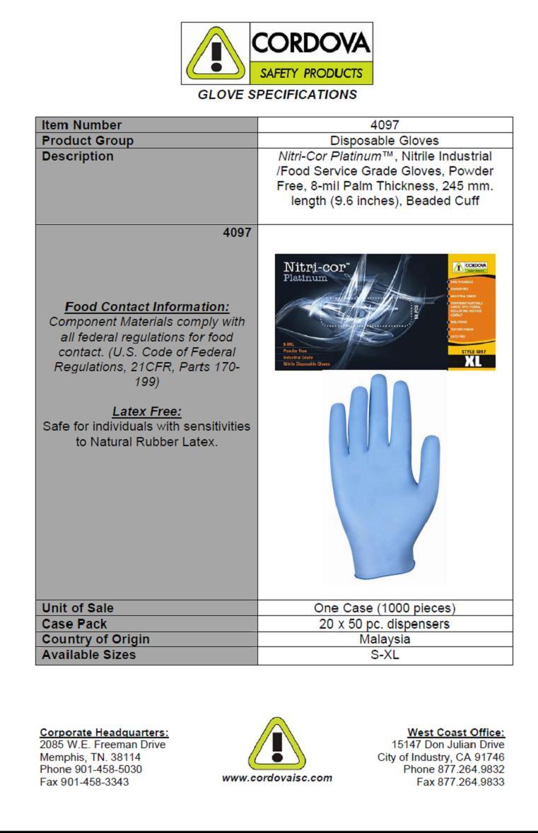 CSP Nitri-Cor Platinum Disposable Nitrile Gloves, Powder Free