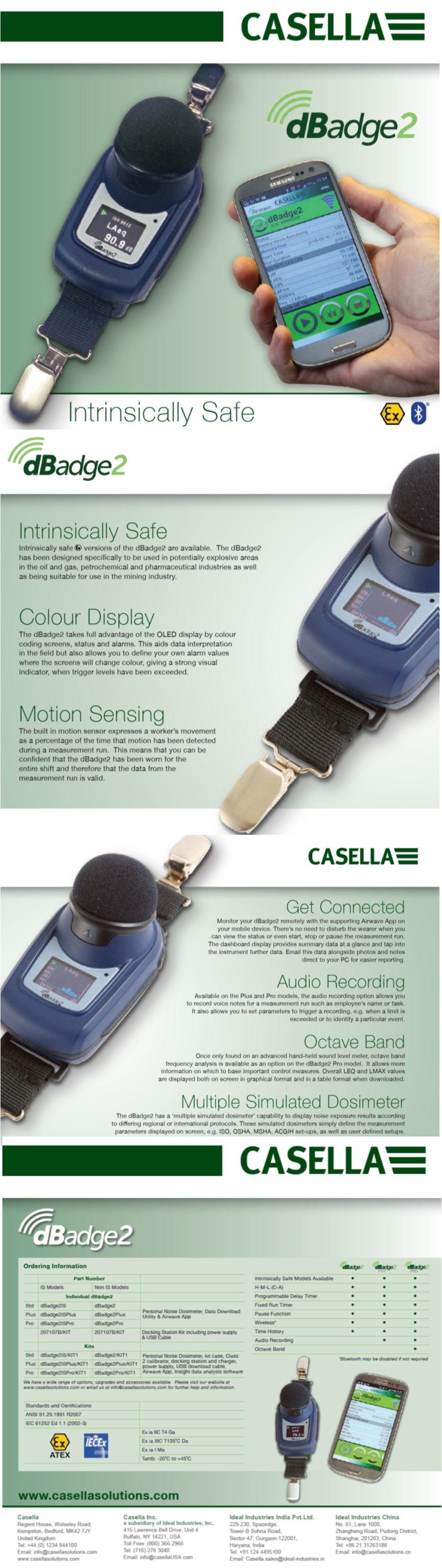 Casella CEL-350 & CEL-350IS dBadge2 Micro Noise Dosimeters for Hearing  Protection