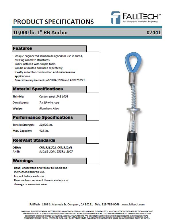 Falltech 1 Inch Removable Concrete Anchor Bolt 7441