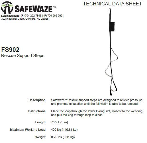 Safewaze Suspension Trauma Support Steps Fs902