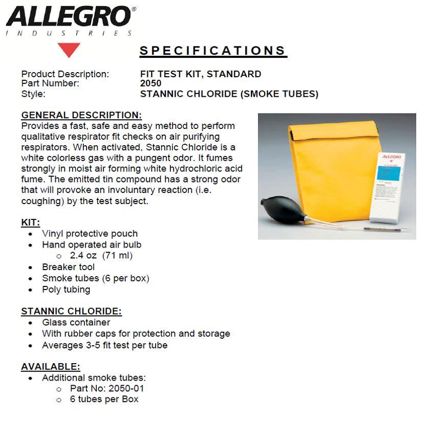 Allegro 2050 Irritant Smoke Respirator Fit Test Kit For
